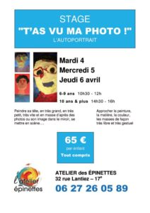 "Stage enfant peinture dessin ""T'AS VU MA PHOTO"""