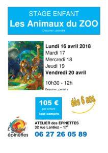 """Stage enfant dessin peinture """"LES ANIMAUX DU ZOO"""""""