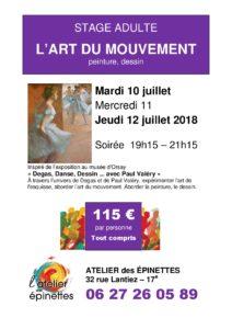"""Stage adulte peinture dessin """"L'ART DU MOUVEMENT"""""""