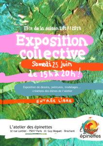 Exposition dessin, peinture, pastel, aquarelle, modelage... FÊTE DE LA SAISON 2017/2018 @ l'Atelier des épinettes (ADE)