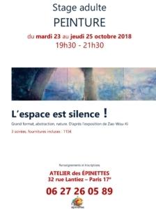 Stage adulte PEINTURE, L'espace est silence ! @ Atelier des épinettes (ADE)