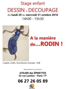 Stage enfant DESSIN & DÉCOUPAGE - A la manière de... RODIN ! @ Atelier des épinettes (ADE)