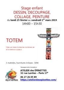 Stage enfant TOTEM découpage, collage, peinture @ Atelier des épinettes