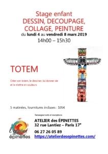 Stage enfant TOTEM dessin, découpage, peinture @ Atelier des épinettes