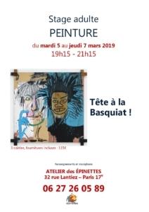 """Stage adulte """"Tête à la Basquiat"""" peinture @ Atelier des épinettes"""