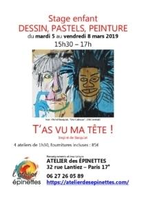 """Stage enfant """"T'as vu ma tête !"""" dessin, peinture @ Atelier des épinettes"""