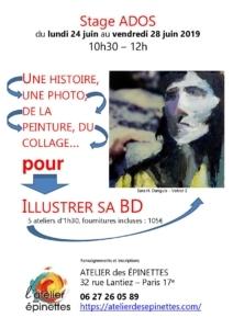 """Stage ados """"ILLUSTRER SA BD"""", une histoire, une photo, de la peinture, du collage... @ Atelier des épinettes"""