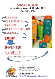 """Stage enfant """"INVENTER SA VILLE"""", une idée, des boites, du carton, de la peinture, du collage... @ Atelier des épinettes"""