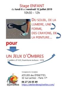 """Stage enfant """"JEUX D'OMBRES"""", du soleil, une ombre, une forme, des crayons, de la peinture... @ Atelier des épinettes"""