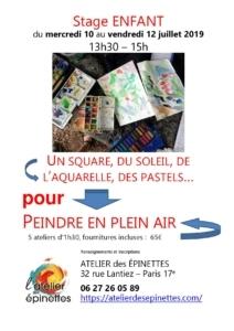 """Stage enfant """"PEINDRE EN PLEIN AIR"""", un square, du soleil, de l'aquarelle, des pastels... @ Quartier Epinettes"""